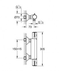 Grohe Grohtherm 800 Termostatik Banyo Bataryası - Thumbnail