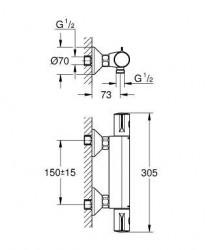 Grohe Grohtherm 800 Termostatik Duş Bataryası - 34558000 - Thumbnail