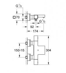 Grohe Grohtherm Cube Termostatik Banyo Bataryası - 34497000 - Thumbnail