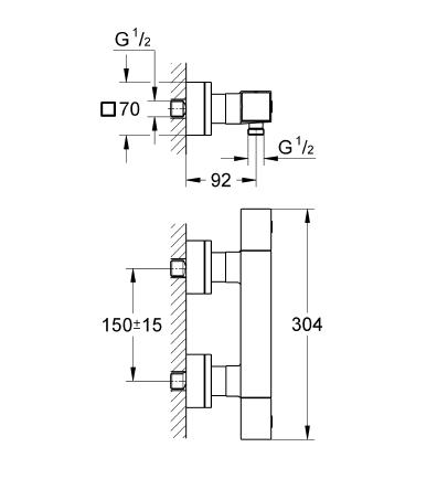 Grohtherm Cube Termostatik Duş Bataryası - 34488000