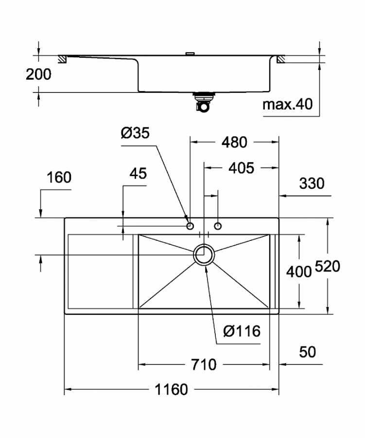 Grohe K1000 Damlalıklı Paslanmaz Çelik Eviye - 31582SD0