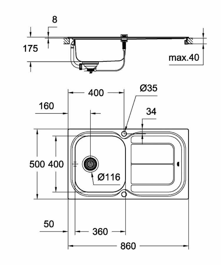 Grohe K300 Damlalıklı Paslanmaz Çelik Eviye - 31563SD0
