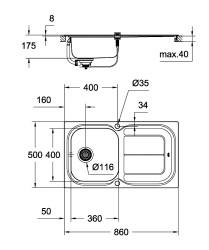 Grohe K300 Damlalıklı Paslanmaz Çelik Eviye - 31563SD0 - Thumbnail