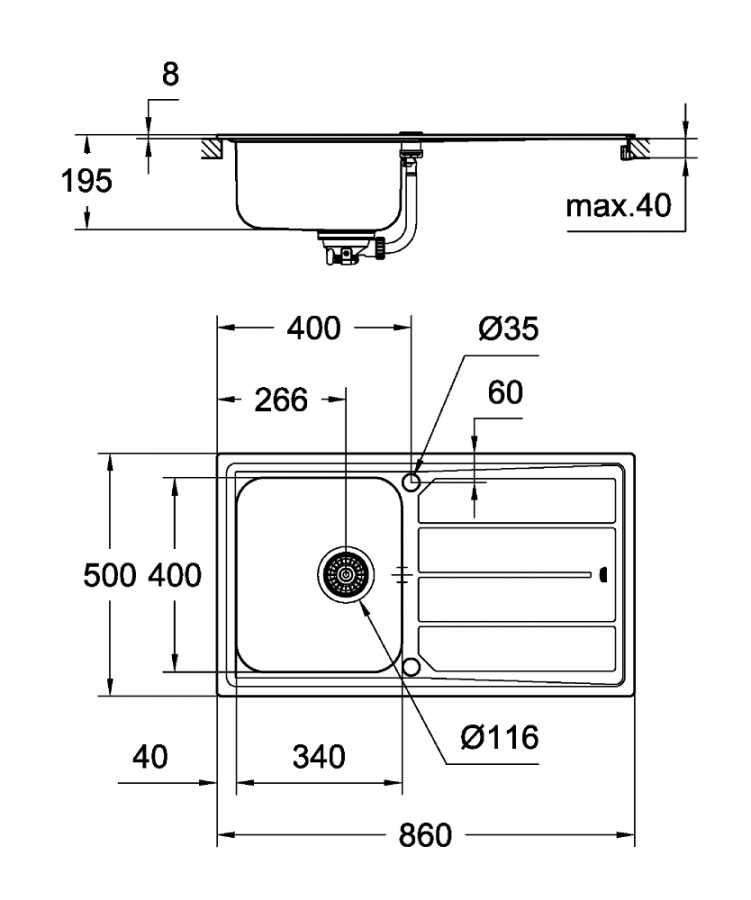 Grohe K500 Damlalıklı Paslanmaz Çelik Eviye