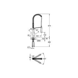 Grohe K7 Tek Kumandalı Spiralli Eviye Bataryası - Thumbnail