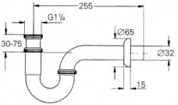 Grohe Lavabo Sifon altı esi 255 mm - 28947000 - Thumbnail