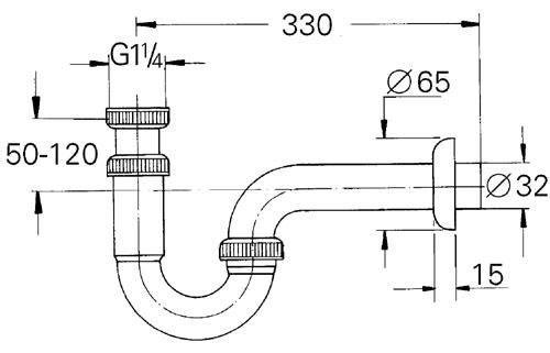 Grohe Lavabo Sifon altı esi 330 mm - 28961000
