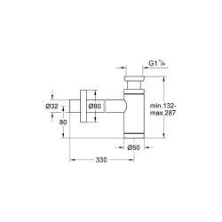 Grohe Lavabo Sifonu 330 mm - 28912000 - Thumbnail