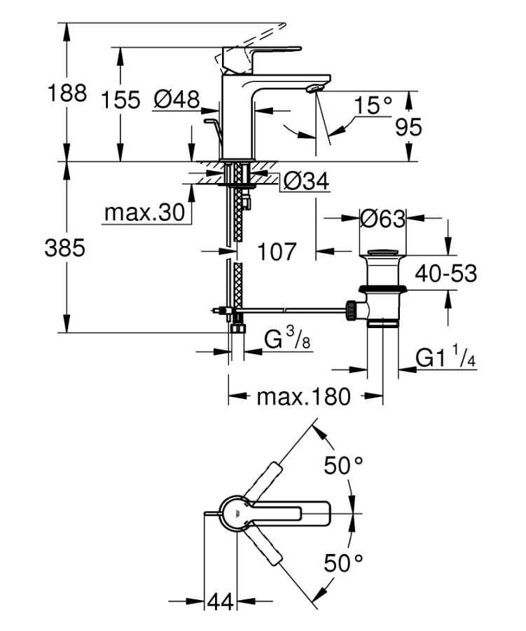 Grohe Lavabo Bataryası Lineare XS-Boyut Krom - 32109001