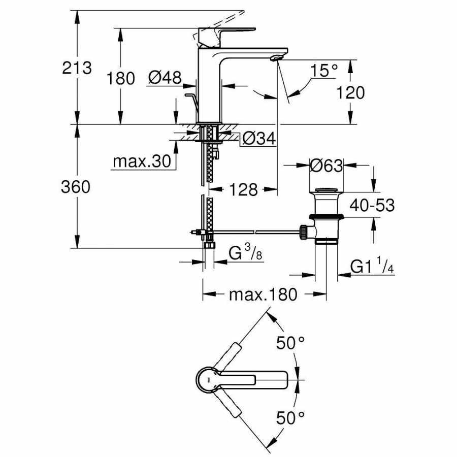 Grohe Lineare New Tek kumandalı Lavabo Bataryası S-Boyut - 32114001
