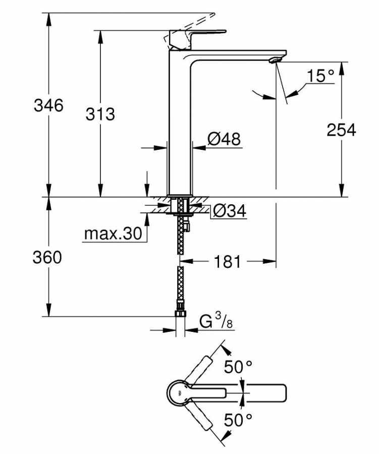Grohe Lineare New Tek kumandalı Lavabo Bataryası