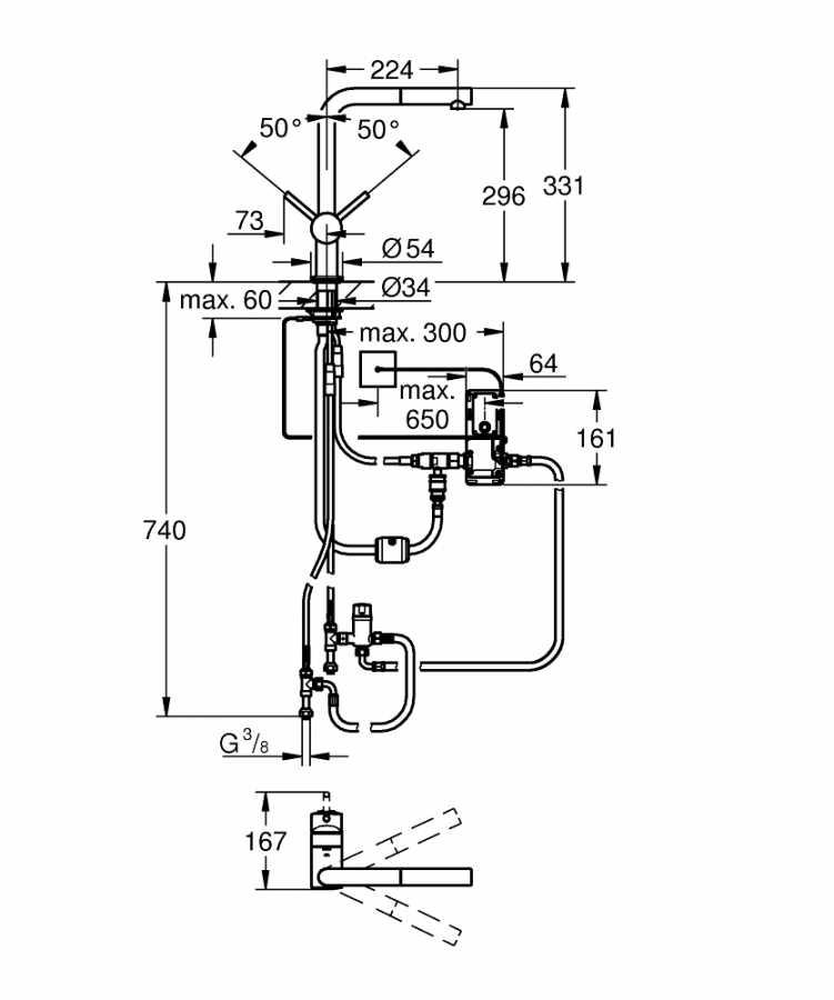 Grohe Minta Touch Elektronik Tek Kumandalı Eviye Bataryası