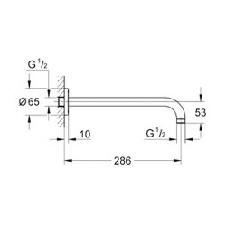 Grohe Rainshower® Tepe Duşu Dirseği Duvardan 286 mm - 28576000 - Thumbnail