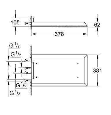 Grohe Rainshower® F-Series 15'' Multi Spray Tepe Duşu 68x38 cm - 27938001
