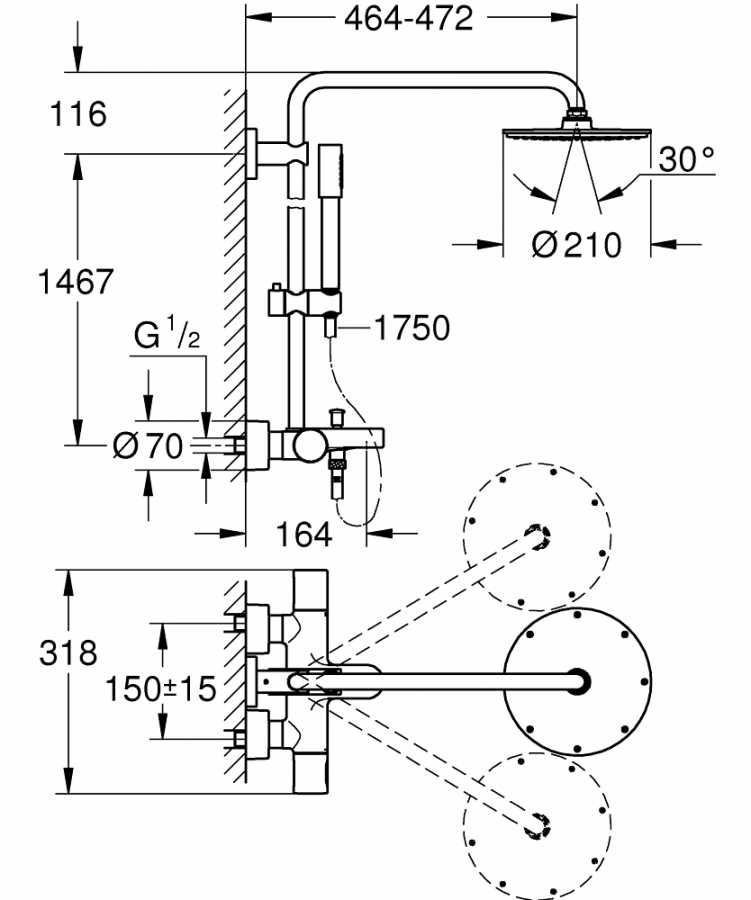 Grohe Rainshower System 210 Duvara Monte Termostatik Banyo Bataryalı Duş Sistemi