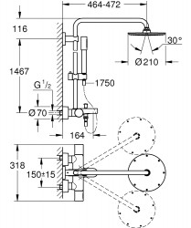 Grohe Rainshower System 210 Duvara Monte Termostatik Banyo Bataryalı Duş Sistemi - Thumbnail