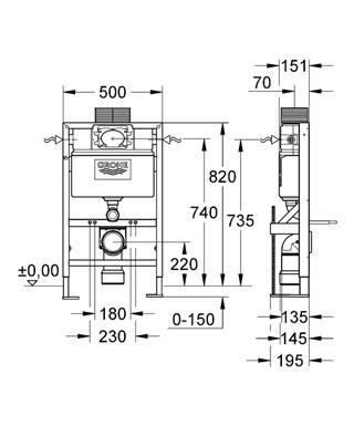 Rapid SL Gömme Rezervuar Pnömatik Alçıpan Tipi Kısa 15 cm