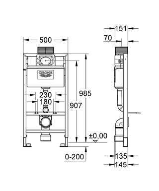 Grohe Rapid SL Gömme Rezervuar Pnömatik Alçıpan Tipi Kısa 15 cm - 38525001