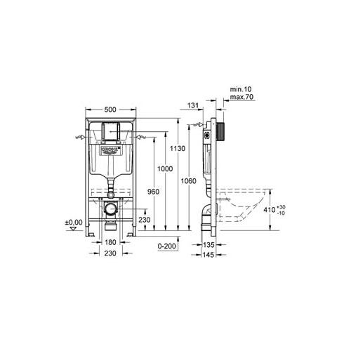 Grohe Rapid SL Gömme Rezervuar Pnömatik Alçıpan Tipi 13 cm - 38528001