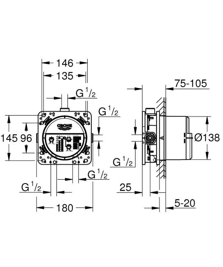 Grohe Rapido Smartbox İç Gövde Universal Giriş Kutusu, 1/2 - 35600000