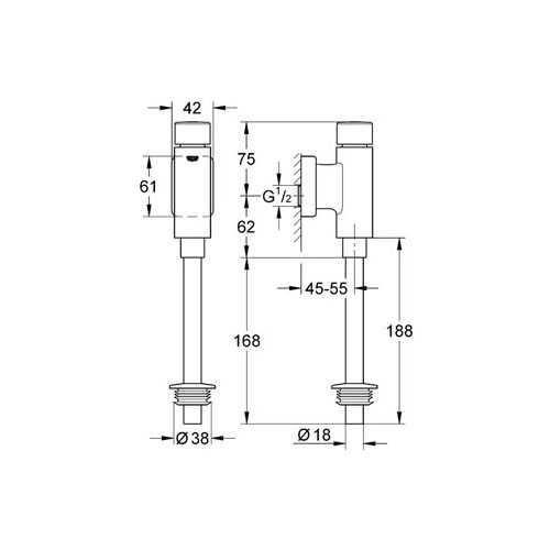 Grohe Rondo Basmalı Mekanik Pisuar Yıkama Sistemi Üstten Görünür Girişli - 37342000