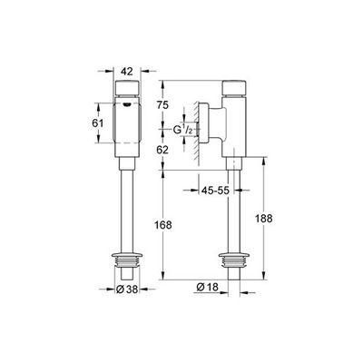 GROHE - Grohe Rondo Basmalı Mekanik Pisuar Yıkama Sistemi Üstten Görünür Girişli (1)