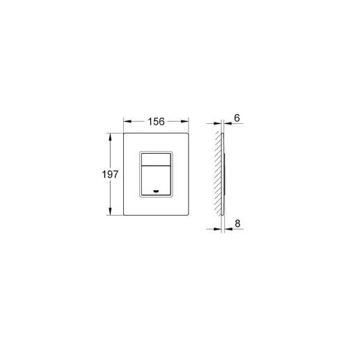 Grohe Gömme Rezervuar Kumanda Paneli Krom / Siyah Cam - 38845KS0