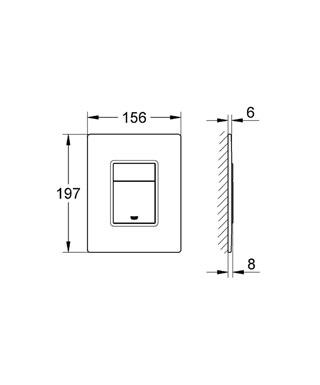 Grohe Gömme Rezervuar Kumanda Paneli Krom / Beyaz Cam - 38845LS0