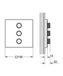 Grohe Grohtherm Smartcontrol Üç Noktadan Akış Kontrollü Kumanda - 29158LS0 - Thumbnail