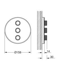Grohe Grohtherm Smartcontrol Üç Noktadan Akış Kontrollü Kumanda - 29152LS0 - Thumbnail
