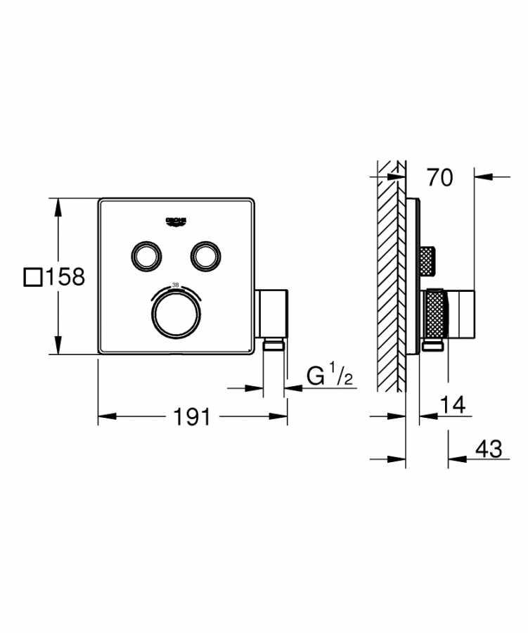 Grohe Grohtherm Smartcontrol Çift Yönlü, El Duş Çıkışlı Ankastre Termostatik Duş Bataryası - 29125000