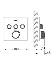 Grohe Grohtherm Smartcontrol Üç Yollu Yön Değiştiricili Ankastre Termostatik Duş Bataryası - 29157LS0 - Thumbnail