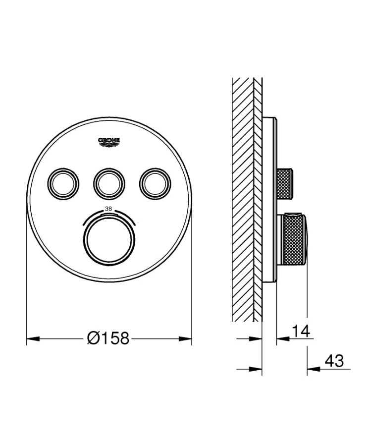 Grohe Grohtherm Smartcontrol Üç Yollu Yön Değiştiricili Ankastre Termostatik Duş Bataryası - 29904LS0
