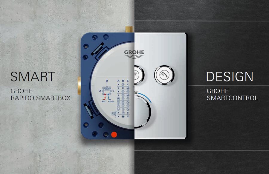 Grohe SmartControl Üç Yollu Yön Değiştiricili Ankastre Termostatik Duş Bataryası - 29121000
