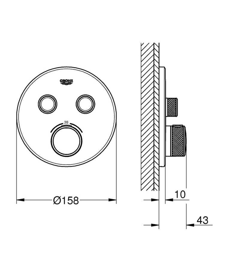 Grohe Grohtherm Smartcontrol Çift Yönlü Ankastre Termostatik Duş Bataryası - 29119000