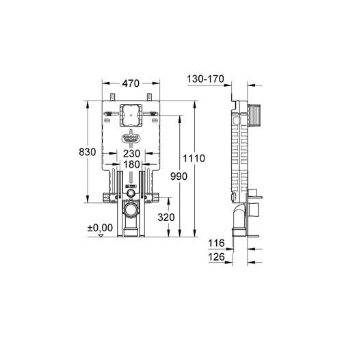 Grohe Uniset Gömme Rezervuar Pnömatik 13 cm - 38642001