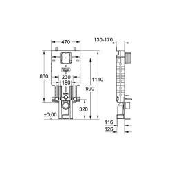 Grohe Uniset Gömme Rezervuar Pnömatik 13 cm - 38642001 - Thumbnail