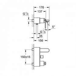 Grohe Veris Tek Kumandalı Banyo Bataryası - 32195000 - Thumbnail