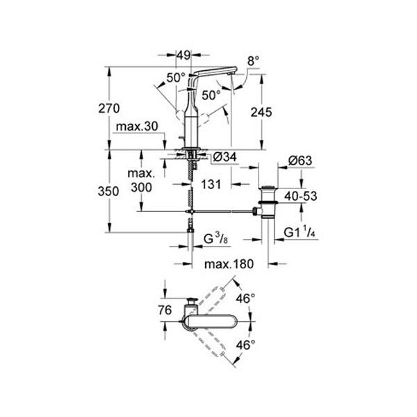 Grohe Lavabo Bataryası Veris L-Boyut Krom - 32184000