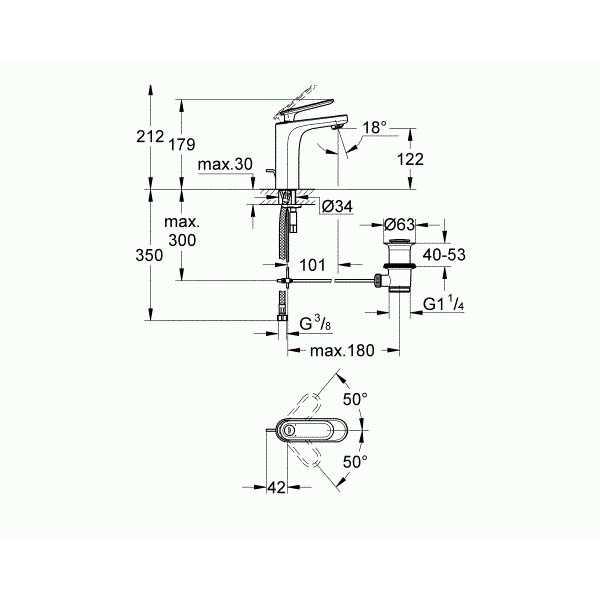 Grohe Lavabo Bataryası Veris M-Boyut Krom - 23064000
